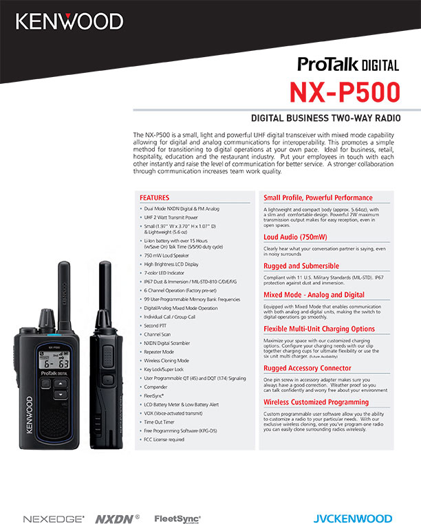 Kenwood NX-P500 brochure